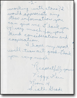 Lawrence to Sixth Grade Student Peggy Fein, May 17, 1957