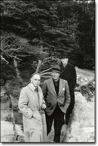 Fishing Trip on Joint Civilian Orientation Conference, ca. 1955, Otto Hahn, E. O. Lawrence, Donald Cooksey at Pt. Lobos