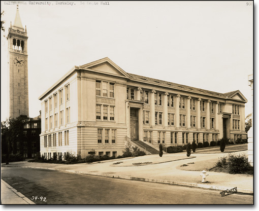View of the East Façade of LeConte Hall with Bacon Hall and the Campanile in Background, by McCurry, ca. 1926