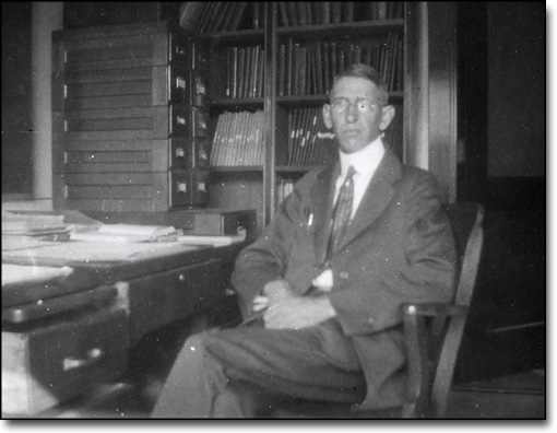 Raymond T. Birge in his Office (South Hall?), ca. 1920