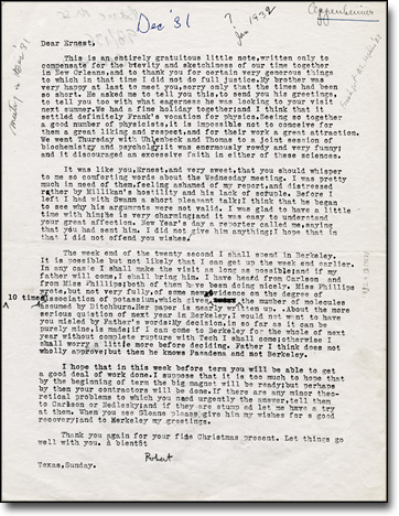 Letter from J. Robert Oppenheimer to E. O. Lawrence, [January 1932?]