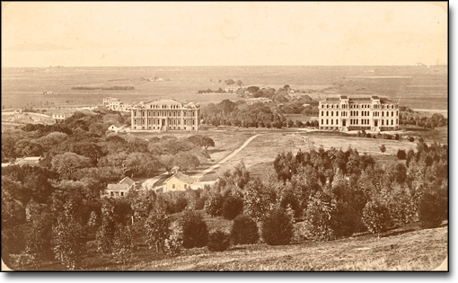 Early Campus View with Watchman's Cottage by J. D. Strong, 1874