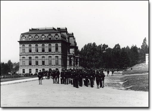 Cadets Drilling Near North Hall, 1900