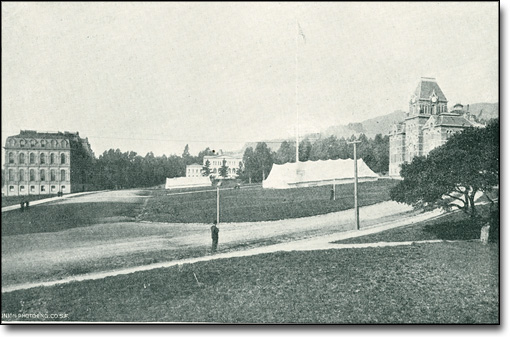 Campus View from South with Tents for Instructional Purposes, ca. 1899