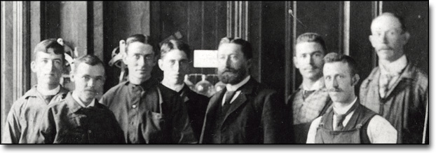 "Physics Students in the Laboratory (""Little Joe"" Second From Left), ca. 1890 [detail]"