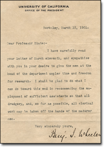 Letter from Benjamin I. Wheeler to Professor Frederick Slate, March 12, 1901