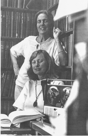 Photo of Gabrielle Morris with Willa Baum, Regional Oral History Office, 1976