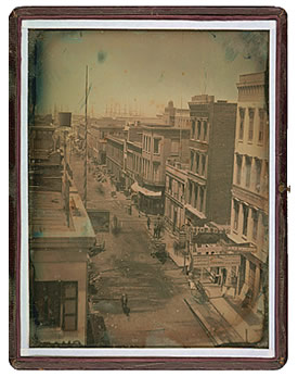 Sacramento Street; view toward bay down the south side of street, San Francisco, [ca. 1852-1853], The Bancroft Library