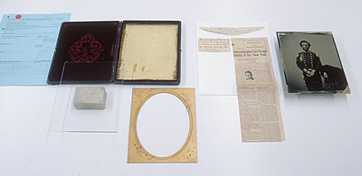 Ambrotype plate removed from its case