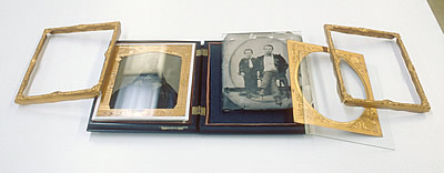 Double-sided case with two ambrotype plates