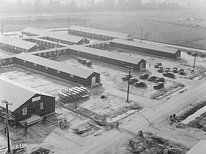 A view of the west section of the hospital. Photographer: Parker, Tom--Denson, Arkansas. 11/17/42