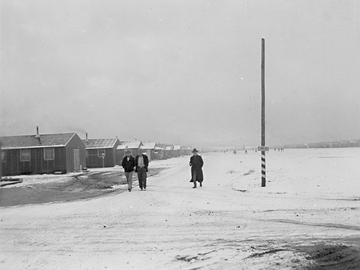 A winter time scene looking east down the main fire break.  Photographer: Stewart, Francis--Newell, California. 1/28/43